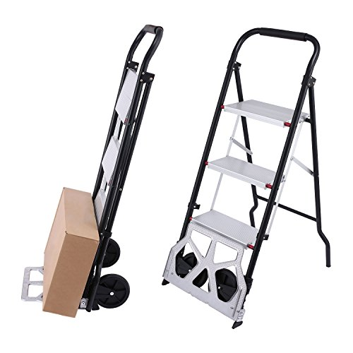 (Aluminum Portable Luggage Carts Folding Hand Truck Dolly with Wheels/2-In-1 Step Ladder and Hand Truck(US Stock))