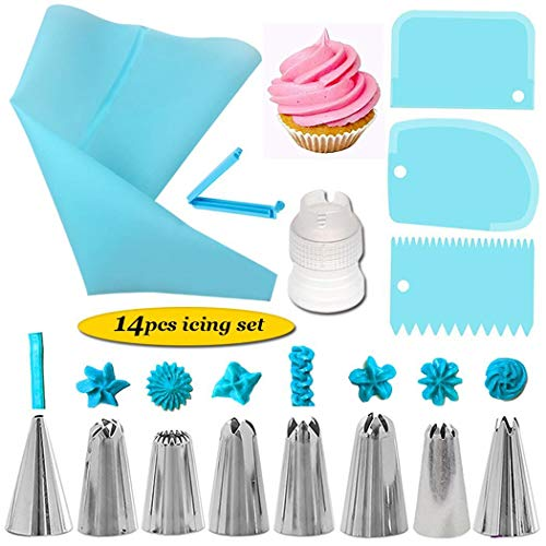 Yealsha Cake Decorating Supplies Kit, 14 PCS Baking Set include Stainless Steel Cake Decorating Tips & Nozzles Silicone Piping Piping Tip Coupler Scrappers Flower Nail
