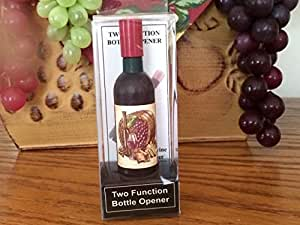 Beautiful Grape & Barrel Wine Bottle Shaped Refrigerator Magnet, Corkscrew, and Bottle Opener