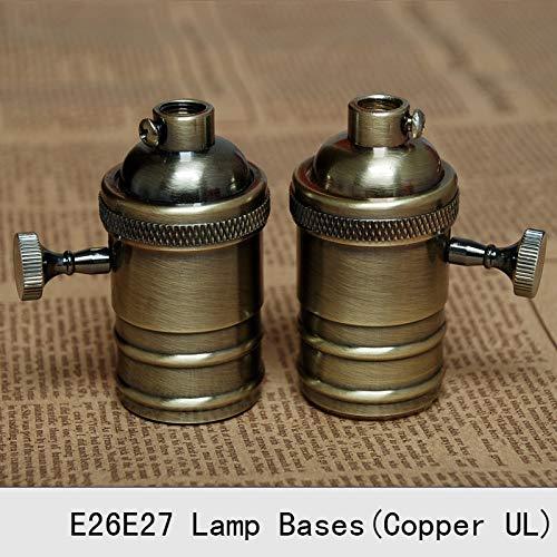 Lamp Base - Vintage Lamp Bases E27 Edison Copper Bronzed Retro Screw Bulb Socket Knob Switch Pendant Light Lamp Holders 2PCS