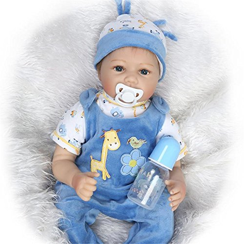 NPK Realistic Toddler Reborn Baby Doll Cute Blue Outfit Boy Soft Silicone Babies 22inch 55cm Weighted Newborn Kids Gift Set Ensemble for Ages 3+ -