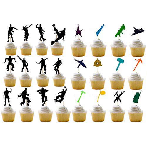 Price comparison product image Happy Birthday Party Supplies for Game Fans,  24 Pcs Dance Moves Cupcake Toppers(24 Styles),  Cake Decorations, Birthday Party Favors