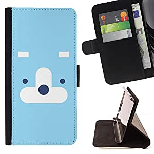 DEVIL CASE - FOR Apple Iphone 5 / 5S - Cute Cloud Face - Style PU Leather Case Wallet Flip Stand Flap Closure Cover