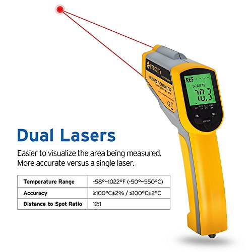 Etekcity Lasergrip1030D Infrared Thermometer Digital Dual Laser Temperature Gun Non-contact with Temperature Filtering -58℉~1022℉ (-50℃ ~ 550℃) by Etekcity (Image #2)'