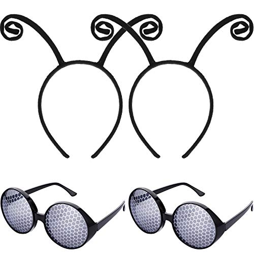Bememo 2 Pieces Antenna Headband Black and 2 Pairs Bug Eyes Glasses Fly Glasses for Costume Party Decoration]()