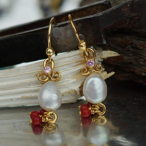 (Turkish Sterling Silver Pink Topaz & Pearl Earrings With Coral Charms Handmade By Omer)