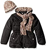 Pink Platinum Girls' Quilted Puffer with Hat and Scarf