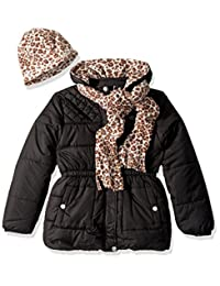 Pink Platinum girls Quilted Puffer With Hat and Scarf