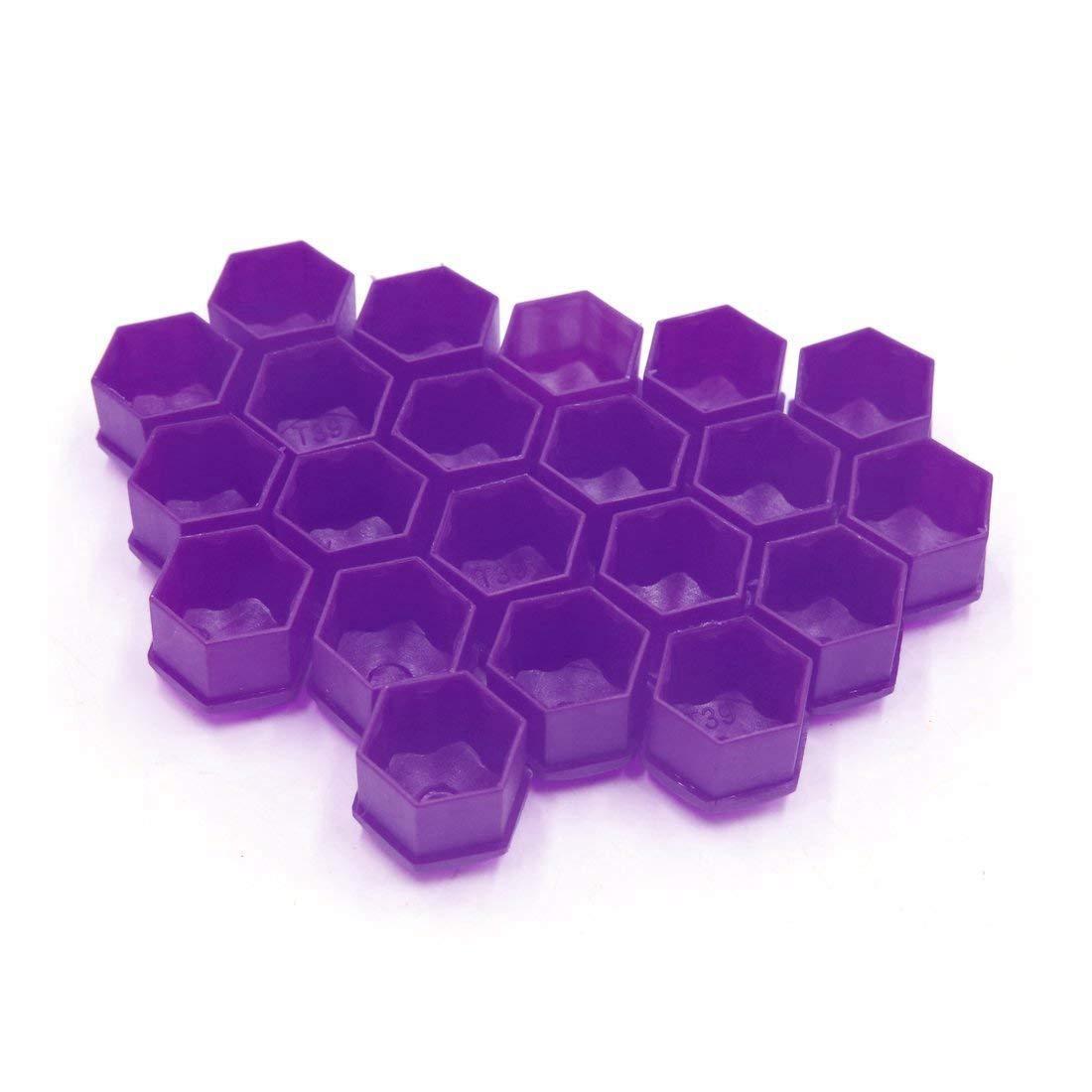 Cikuso 20 pcs Purple Plastic Wheel Lug Nut Bolt Cover Cap with Removal Tool for Car,17mm