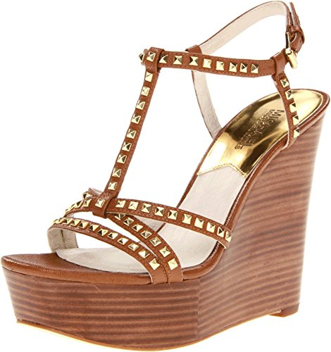 (Michael Michael Kors Women's Alexi Studded Leather T-Strap Wedge Sandal Luggage Size 9.5)