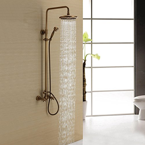 Sprinkle Antique Brass Shower Faucet with 8 inch Shower Head and Hand Shower , Two Handles Three - Valdosta Stores