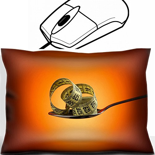 (MSD Mouse Wrist Rest Office Decor Wrist Supporter Pillow design 27153867 Measuring tape in silver spoon on orange background)