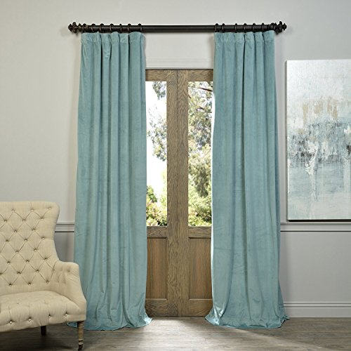 Mist Curtain - Half Price Drapes VPCH-140803-96 Signature Blackout Velvet Curtain, Aqua Mist, 50 X 96