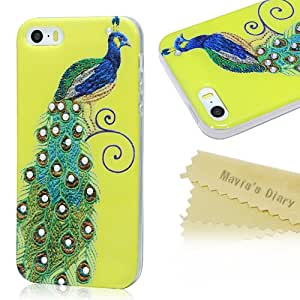 Mavis's Diary Crystal Rhinestone Peacock Design Slim TPU Case Cover for Iphone 5 5S with Soft Clean Cloth (Pattern-7)