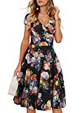 Ranphee Floral Summer Dresses for Women Vintage Cap Sleeve V Neck Casual Cocktail Work Dress