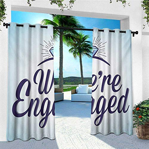 leinuoyi Engagement Party, Outdoor Curtain Pole, We are Engaged Announcement Quote Wedding Ring Celebration, Outdoor Privacy Porch Curtains W96 x L108 Inch Sky Blue and Navy Blue
