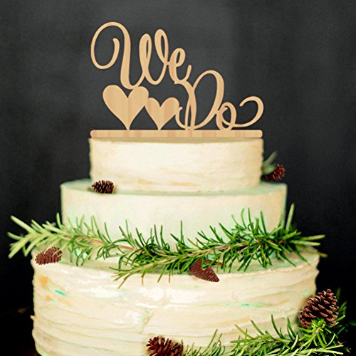 (ROSENICE Wedding Cake Topper WE DO Wood Wedding Cake Decorations(Wood)