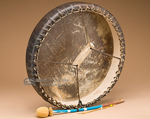 Tohlakai Antler & Buffalo Hide Drum 18'' -Navajo by Mission Del Rey (Image #1)