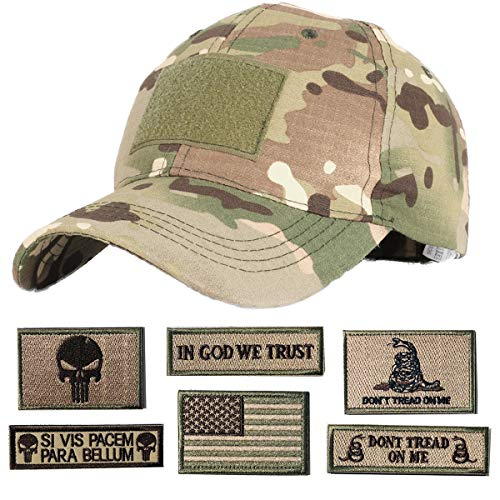 Hng Kiang Hu Tactical Hat with 6 Pieces Military Patches Adjustable Operator Flag Hats Cap Army Hats for Men Baseball Cap