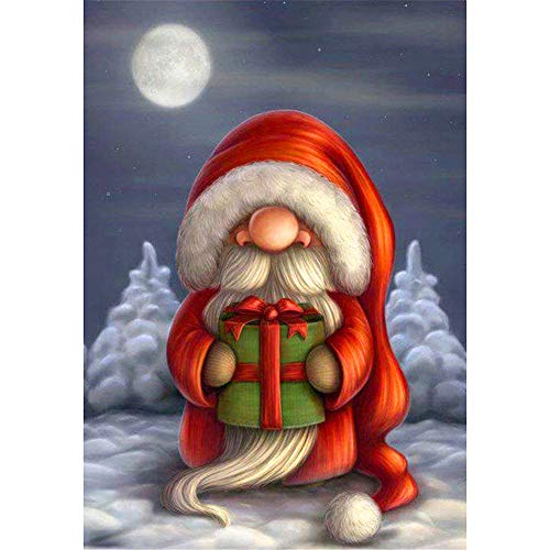 Adarl Christmas 5D DIY Diamond Painting Full Drill Round Resin Beads Christmas Gnome Pictures of Crystals Diamond Dotz Kits,Cross Stitch Kit (Gnome Bead)