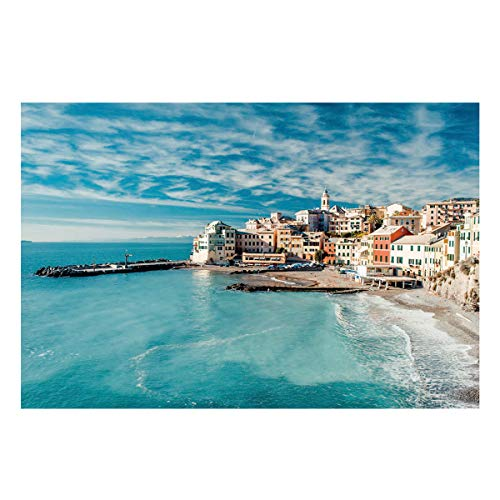Monroda Aquarium Background Fish Tank Background,Panorama of Old Italian Fishing Village Beach in Old Province Coastal Charm Image 24.4 x 48.8in