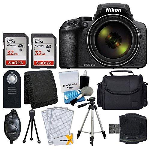 Nikon COOLPIX P900 Digital Camera + Transcend 2x 32GB Memory Card(64GB) + Wireless Remote + Digital Camera/Video Case + Cleaning Kit + Complete Accessory Bundle - International Version (No Warranty) by Nikon