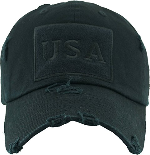 Funky Junque H-212-USA06 Distressed Vintage Patch Hat - USA (Black)