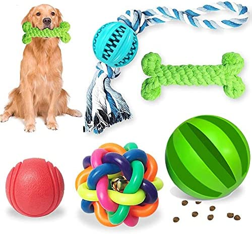 5 Piece Dog Toys of Teething, Dog Toys for Boredom, Durable Rubber Fun Interactive Toys for Large And Small Dogs (green) (Chew Toys-1)