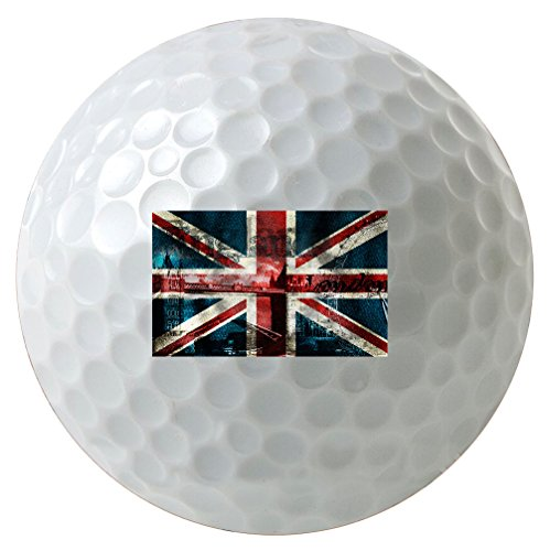 (Vintage British Flag United Kingdom UK 3-Pack Printed Golf Balls)