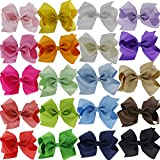 QingHan 4.5'' Hair Bow Clips Grosgrain Ribbon Boutique bows For Girls Babies Teens Kids Toddlers Pack Of 20
