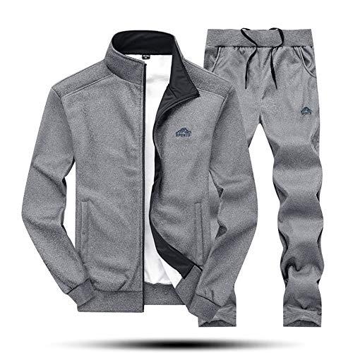 (MAGNIVIT Men's Tracksuit Set Full Zip Long Sleeve Running Sportwear Suit Dark Grey)