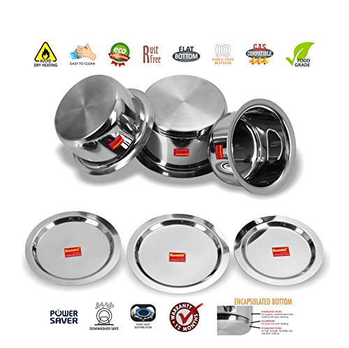 Sumeet 3 Pcs Stainless Steel Induction Bottom (Encapsulated Bottom) Induction & Gas Stove Friendly Container Set / Tope / Cookware Set With Lids Size No.12 to No.14 (1.7 Ltr to 2.8 Ltr)