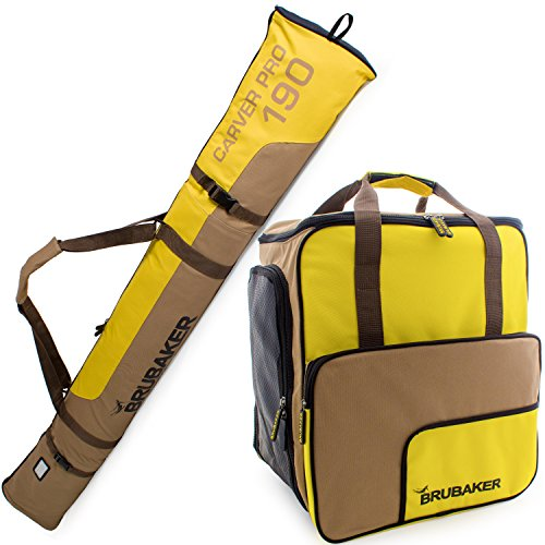 BRUBAKER Superfunction - Limited Edition - Combo Ski Boot Bag and Ski Bag for 1 Pair of Ski, Poles, Boots and Helmet - Brown Yellow