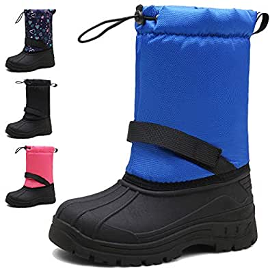 MARITONY Girls Boys Snow Boots Waterproof Slip Resistant Warm Winter Boots for Toddler Kids Children Blue