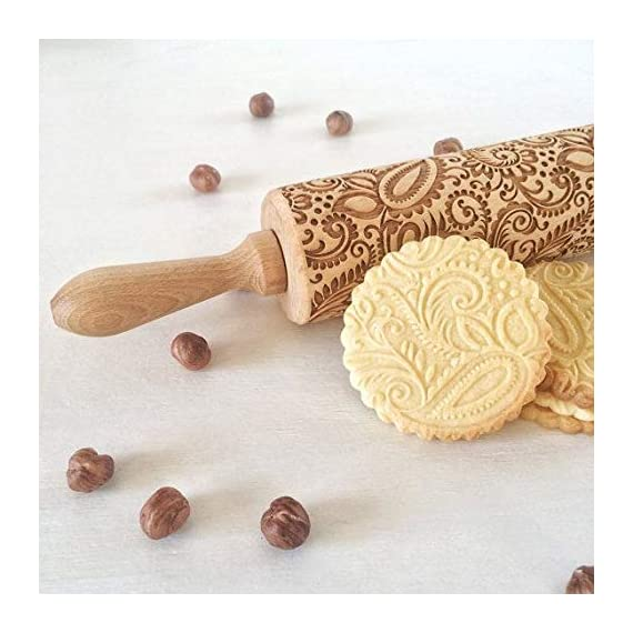 """Paisley Embossed Rolling Pin 16"""" Engraved Rolling Pin for Baking + Cute and Lightweight Wooden Rolling Pin for Kids and Adults to Make Cookie Dough – Attractive Professional Cookie Angel Food 4 START HAVING FUN IN THE KITCHEN WITH ALL YOUR FAMILY. Our textured rolling pin 16 Inch is very easy to use, so have some fun using this engraved rolling pin with your whole family. This embossed rolling pin can be used for fancy pastry decorations, cake decorations, shortbreads, basic biscuits, play dough, and even clay. This wood rolling pin can also be used as a kid's toy. EASY TO CLEAN:You only need to wash under running water and dry in the air,they will not take up too much space in the kitchen drawer ROLLING-PINS can be a really nice housewarming and pretty gift for your friends, kids and your kitchen."""