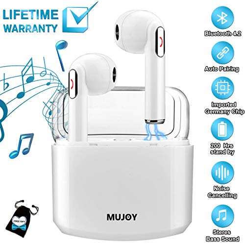 Wireless Earbuds with Charging Case,Bluetooth Earbuds with Mic for Running,Wireless Bluetooth Earphones with Microphone,Mini Sports Earbuds Compatible iOS Android Huawei Samsung Phones X 8 7 by MUJOY (Image #7)