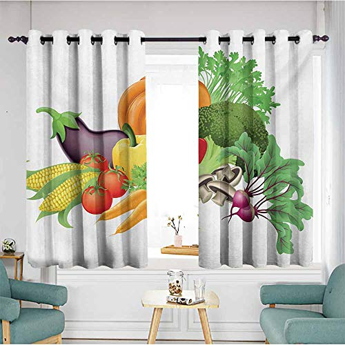 (AndyTours Grommet Curtains,Harvest Cartoon Drawing Style Fall Harvest Yield Fresh and Tasty Vegetables Bell Peppers,Hipster Patterned,W55x63L,Multicolor)