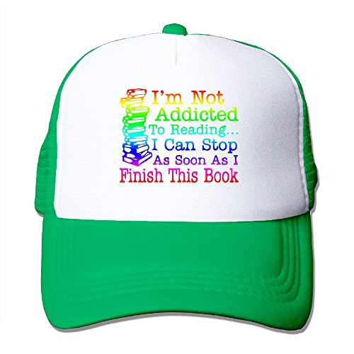 WYF Not Addicted to Reading Can Stop Finish This Book Outdoor Mesh Hat Trucker Cap Hat Adjustable KellyGreen