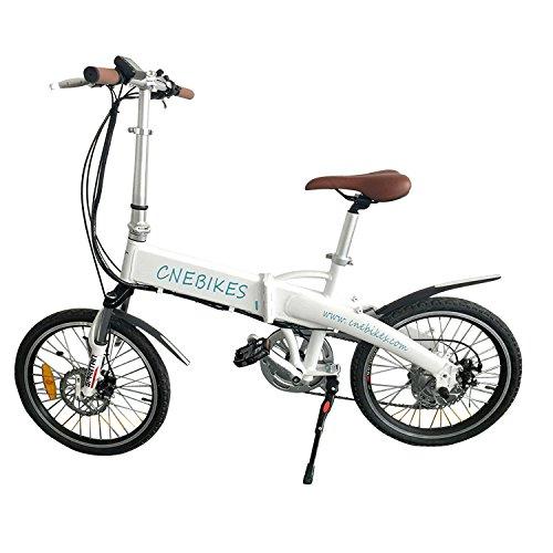 Tenive Pro Electric Folding Aluminum Bicycle - Powerful Portable E-bike Foldable bicycle w/ 36V 250W Geared Hub Motor ,7 Speed Gear,White
