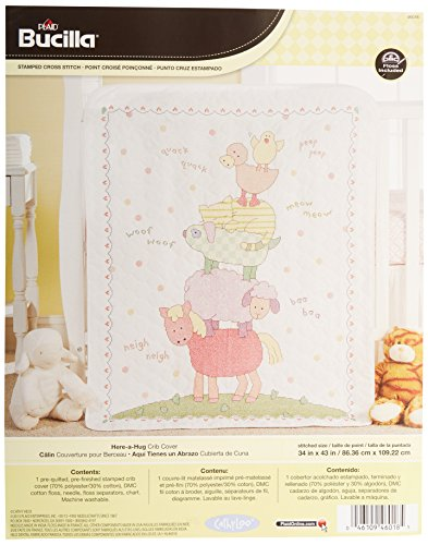 (Bucilla Stamped Cross Stitch Crib Cover Kit, 34 by 43-Inch, 46018 Here a Hug)