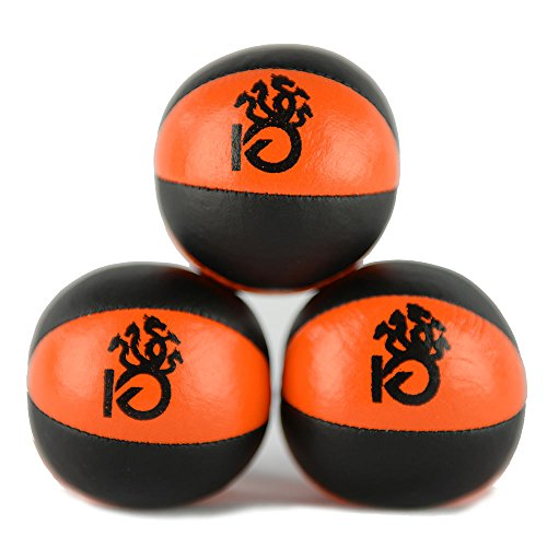 Price comparison product image KickFire Hydras Juggling Balls 6 Panel Leather Juggling Equipment for Beginners & Professionals / Fits All Sizes of Hands / FREE Online Tutorials / Set of 3