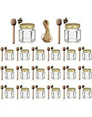 Ahhute 1.5 oz Hexagon Mini Glass Honey Jars with Wood Dipper, Gold Lids, Bee Pendants, Jutes - Perfect for Baby Shower, Wedding Favors, Party Favors, 20 Pack