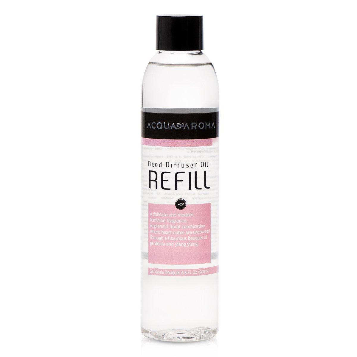 Acqua Aroma Gardenia Bouquet Reed Diffuser Oil Refill 6.8 FL OZ (200ml). Contains Essencial Oils