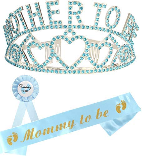 MEANT2TOBE Mother to Be Tiara Blue Hearts Crown | Mom to Be Sash | Dad to Be Pin | Baby Shower Party Favors Decorations Gift Boy or Girl | Gender Reveals Party Gifts | Great for New Mom (Blue)