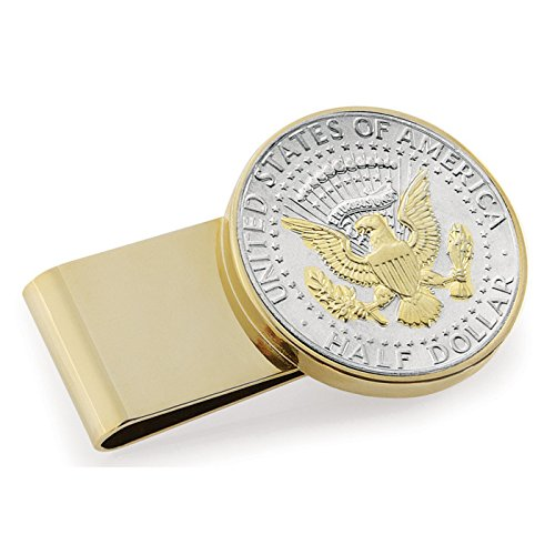 Coin Money Clip - Presidential Seal JFK Half Dollar Selectively Layered in Pure 24k Gold | Stainless Steel Moneyclip Layered in Pure 24k Gold | Holds Currency, Credit Cards, Cash | Genuine U.S. Coin (We Hold A Treasure Not Made Of Gold)