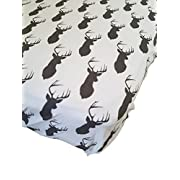 Danha Premium Fitted Cotton Crib Sheet White With Grey Deer Print – Standard Crib Mattress Size – Toddler, Kids Bedding – Woodland Animals Nursery Décor Theme