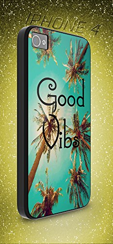 SPOCASES made to order { Vintage Good Vibes California iPhone case } Good Vibes Cali sunlight Gift Case iPhone - Package include 1 Black Hard Shell Case for Apple iPhone 4 - A523