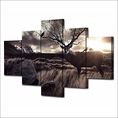 [LARGE] Premium Quality Canvas Printed Wall Art Poster 5 Pieces / 5 Pannel Wall Decor Calligraphy Animal Scenery Deer Painting, Home Decor Pictures - With Wooden Frame by PEACOCK JEWELS