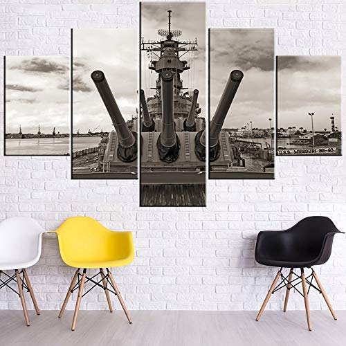 Navy Photo Wwii - Canvas Art Wall Decor Battleship in the WWII Paintings Berthed in Pearl Harbor Hawaii Pictures 5 Piece Premium Quality Prints Artwork House Decorations Framed Stretched Ready to Hang(60''Wx40''H)
