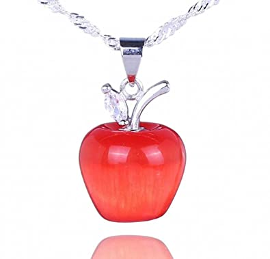 Bigood 925 Sterling Silver Necklace 20*14mm Red Apple Dangle Pendant 18'' Curb Chain icjHQ